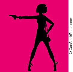 vector illustration of woman silhouette with gun. spy agent concept. fashion girl figure.