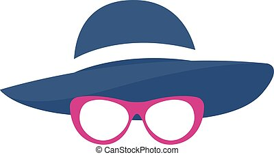 Vector illustration of woman silhouette in hat