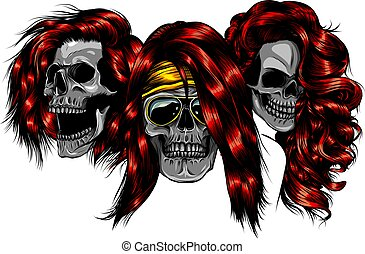 vector illustration of woman skulls design art