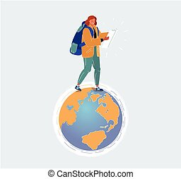 Vector illustration of Woman tourist with backpack stand on planet Earth globe on white background.