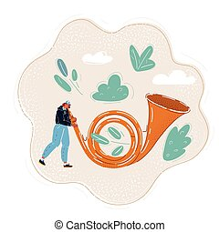 Vector illustration of woman using giant big Post horn.