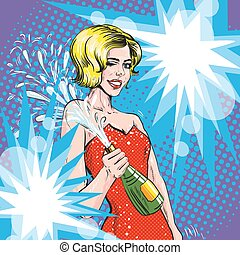 Vector illustration of woman with champagne, retro pop art style