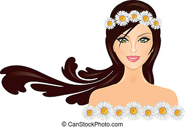 Vector illustration of woman with d