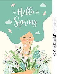 Vector illustration of woman with spring bouquet .