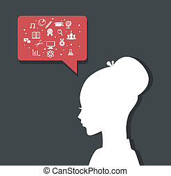 Woman's head with education icons