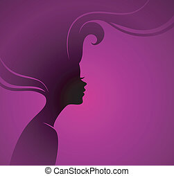 Woman's silhouette - Vector illustration of Woman's...