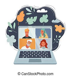 Vector illustration of women and men on laptop screen. Remote work and distance video call on dark backround.