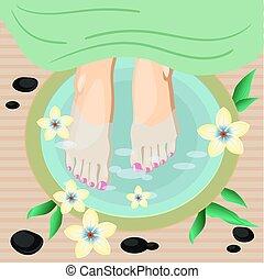 Vector illustration of women feet pedicure in flat style