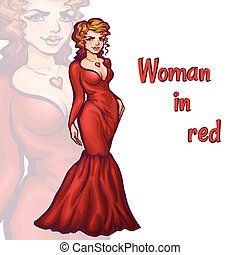 Vector illustration of women in elegant red dress