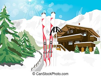 winter scenery with snow, skis, ski poles, chalet and mountains
