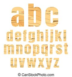 vector Illustration of wood alphabet a to z set on white background