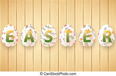 Wooden background with set ornamental Easter eggs