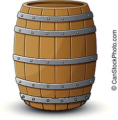 Wooden barrel on a white background - Vector illustration of...