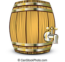 Wooden barrel - Vector illustration of Wooden barrel over...