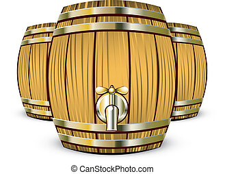 Wooden Barrels - Vector illustration of Wooden Barrels over...