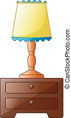 Wooden bedside table with lamp isolated on a white background