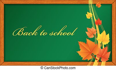 wooden blackboard with leaves
