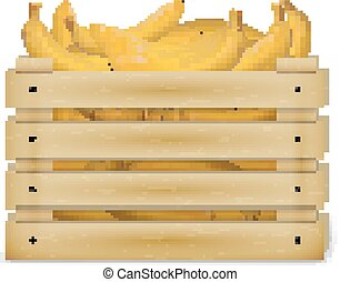 Vector illustration of wooden box with bananas