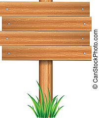 Vector illustration of wooden sign