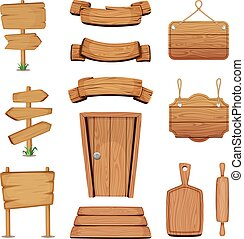 Vector illustration of wooden signboards, doors, plates and other different shapes with wood texture