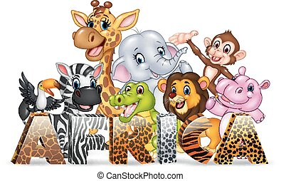 Word Africa with cute wild animal - Vector illustration of...