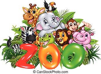 Word zoo with cartoon wild animal