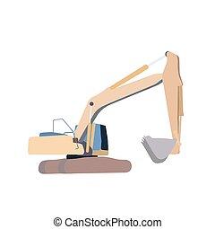 Working Excavator. Isolated