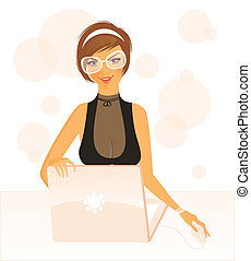 Working girl - Vector illustration of Working girl