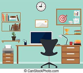 Vector Illustration of Workspace interior with office objects