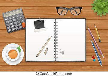 Vector illustration of Workspace with notebook and tea