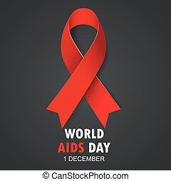 World AIDS Day. Red Ribbon Sign - Vector illustration of ...