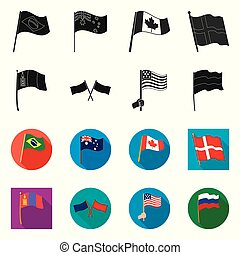 Vector illustration of world and flag logo. Set of world and ribbon stock vector illustration.
