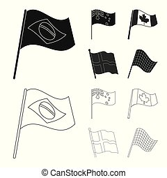 Vector illustration of world and flag sign. Collection of world and ribbon stock vector illustration.