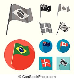 Vector illustration of world and flag sign. Collection of world and ribbon vector icon for stock.