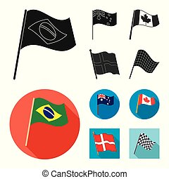 Vector illustration of world and flag symbol. Set of world and ribbon vector icon for stock.