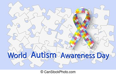 World autism awareness day. Symbolic ribbon from rainbow puzzles. Symbol of autism. Health care - illustration, banner or poster of World Autism Awareness Day. Vector illustration