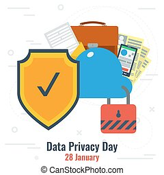 Data Privacy Day and Secure Cloud Storage - Vector...