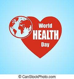 Vector Illustration of World health day concept text design with Earth globe and heart.