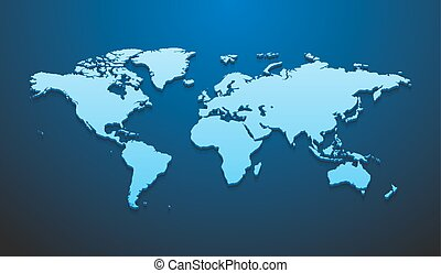Vector illustration of world map mockup for infographics on the dark blue background