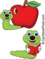 Vector illustration of Worm cartoon reading book