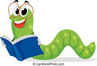 Worm Reading Book - Vector Illustration of Worm Reading Book