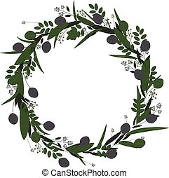 Vector illustration of wreath of leaves