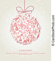 Xmas doodle ball - Vector illustration of Xmas doodle ball