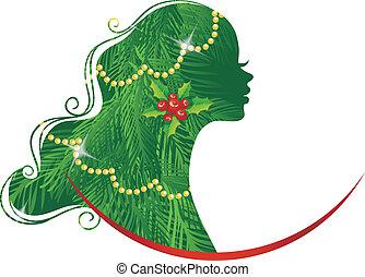 Xmas womans silhouette green - Vector illustration of Xmas...