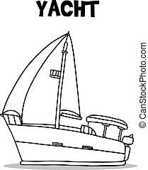 Vector illustration of yacht transport