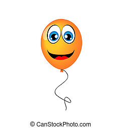 yellow balloon with eyes and smile