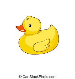 Vector illustration of yellow duck  isolated on white background