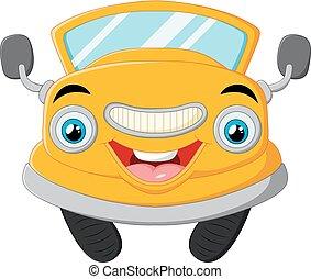 Yellow funny cartoon car - vector illustration of Yellow...
