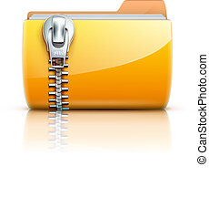 zip folder icon - Vector illustration of yellow interface...