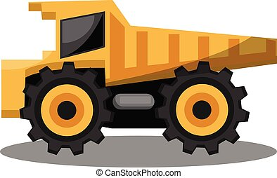 Vector illustration of yellow transporting tractor on white background.